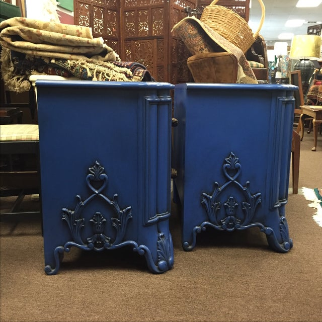 Blue Nightstands - A Pair - Image 3 of 8