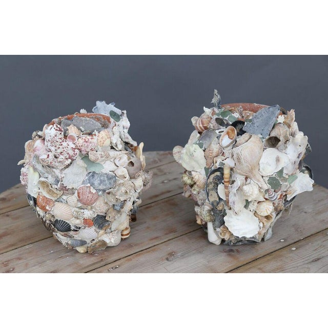 Shell-covered terracotta cache-pots. One-of-a-kind pair of terracotta cache-pots covered with shells in a variety of...