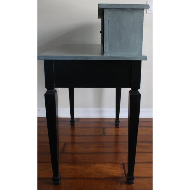 Vintage Black & French Blue Custom Painted Accent Desk, For Sale - Image 4 of 11