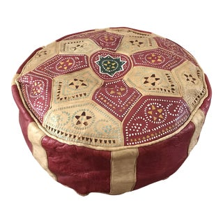 Vintage Colorful Leather Morrocan Pouf
