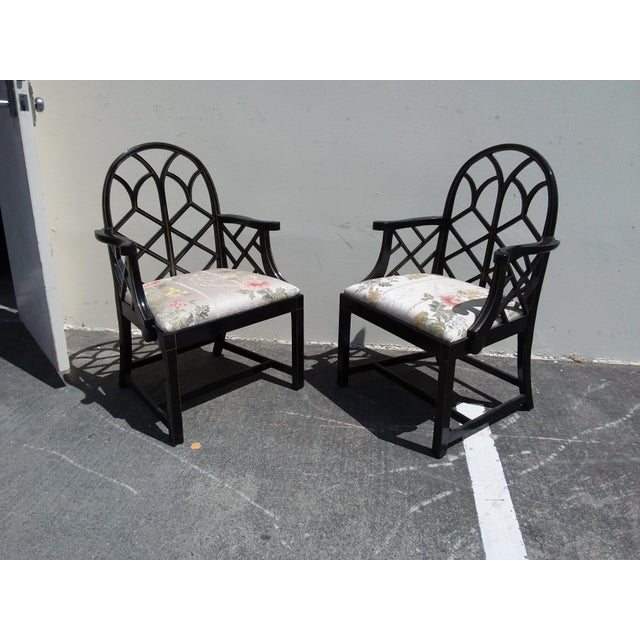 Lattice Work Back Black Arm Chairs - a Pair For Sale - Image 4 of 11
