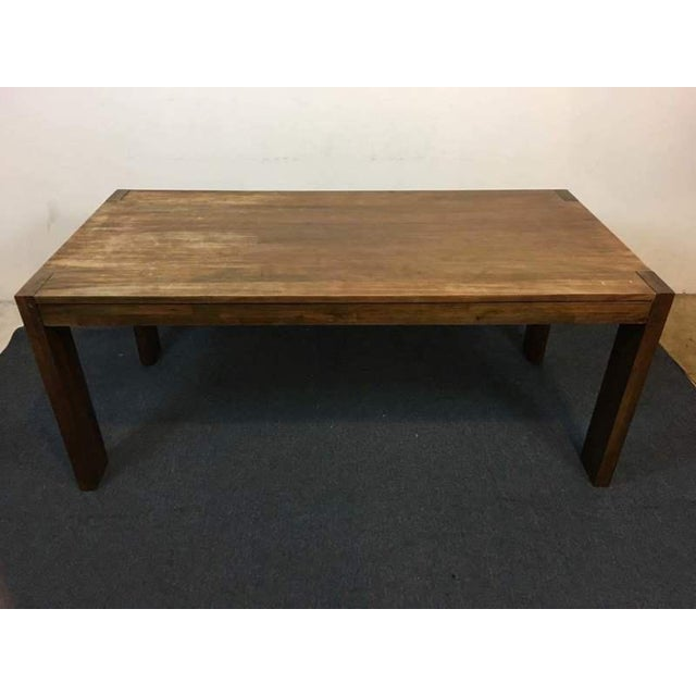 West Elm Contemporary Rustic Oak Dining Table - Image 2 of 7