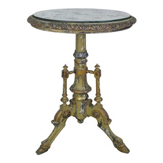 French Tripod Side Table W/ Mirrored Top For Sale