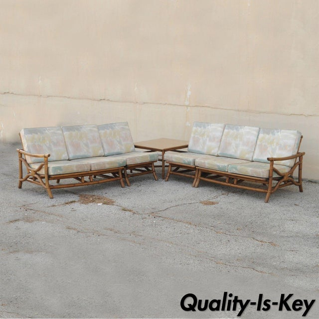Vintage Mid Century Ficks Reed 5 Pc. Rattan Tiki Set Bamboo Sofa Table Pair Chairs For Sale - Image 11 of 11