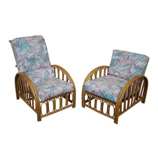 Vintage Curved Arm Bamboo Rattan Chairs - Pair For Sale
