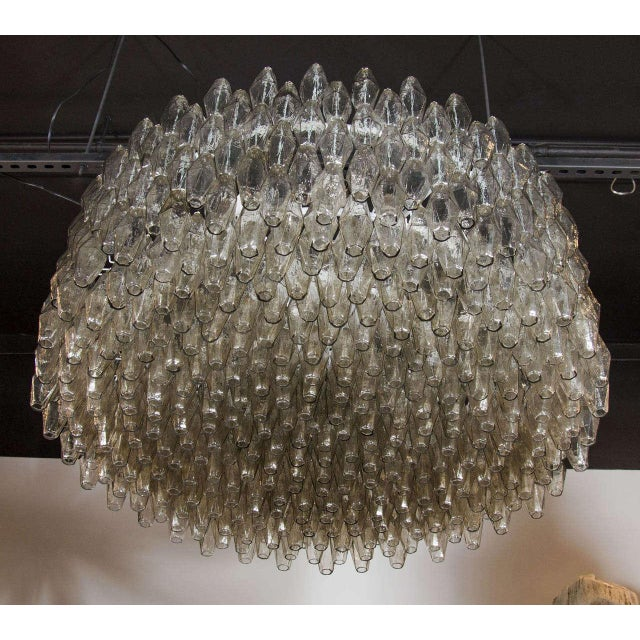 1920s Impressive Handblown Smoked Murano Glass Polyhedral Chandelier by Venini For Sale - Image 5 of 7