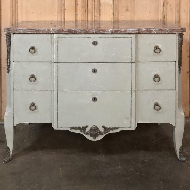 19th Century French Louis XVI Painted Marble Top Commode For Sale - Image 13 of 13