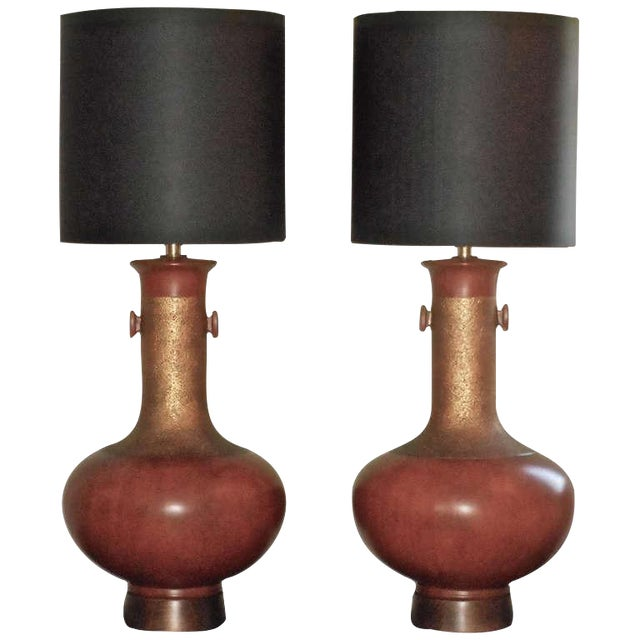 Sensational, Large Scale Pair of Ceramic Lamps - Image 1 of 7