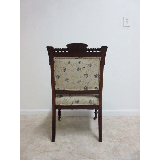 Antique Victorian Carved Walnut Lounge Chair For Sale - Image 5 of 10