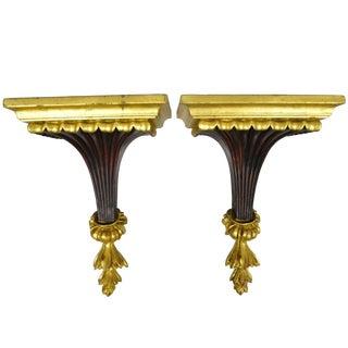 Pair French Hollywood Regency Palm Gold Gilt Resin Wall Mount Bracket Shelves For Sale