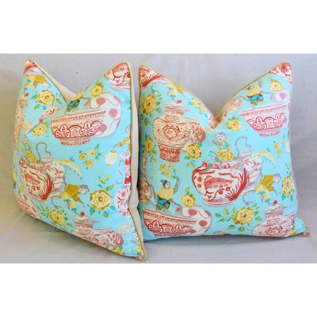 """Aqua Chinoiserie Playful Monkeys & Chinese Vases Feather/Down Pillows 26"""" Square - Pair For Sale - Image 9 of 13"""