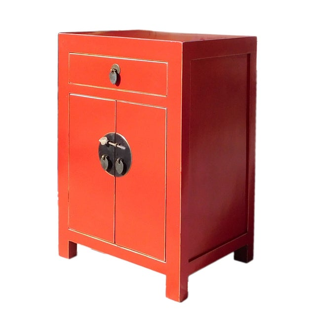 Chinese Red Round Moon Face Cabinet Side Table - Image 3 of 5