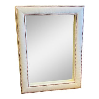 Victoria White Leather Mirror For Sale