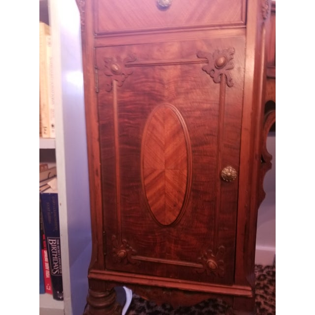 Williamsport Walnut Burl & Mahogany Vanity Table For Sale In San Francisco - Image 6 of 11