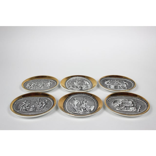 """Set of Six """"Cammei"""" Gilt Porcelain Coasters by Piero Fornasetti Italy, 1950s 4""""Dia"""