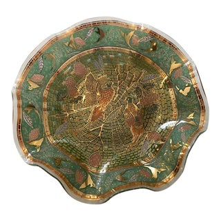 Mid-Century Gold & Green Reverse Mosaic Glass Ruffle Dish