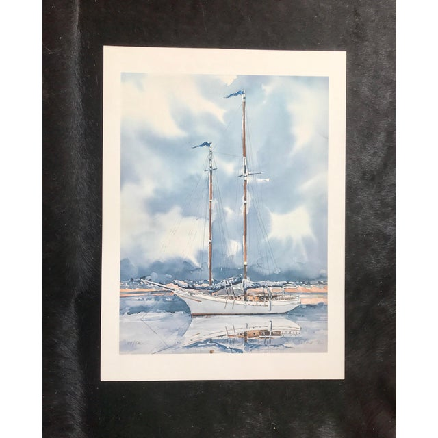Blue Sailboat Watercolor Print Lithograph - Numbered and Signed For Sale - Image 8 of 8