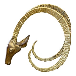 1970s Vintage Brass Ibex Head For Sale