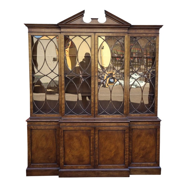 Vintage Late 20th Century Regency Style Old Colony Furniture Mahogany Breakfront Cabinet C1970s For Sale