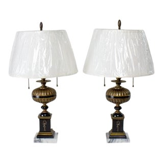 Pair of Neoclassical Revival Brass and Black Resin Lamps For Sale