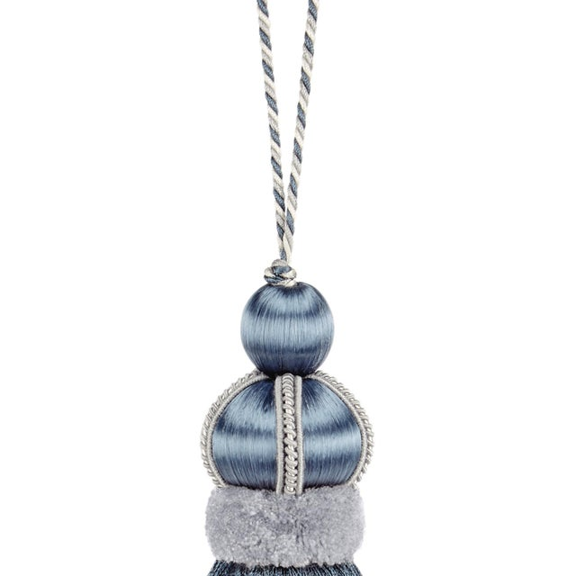 "Boho Chic Slate Blue Key Tassel With Cut Ruche -Tassel Height - 5.75"" For Sale - Image 3 of 4"