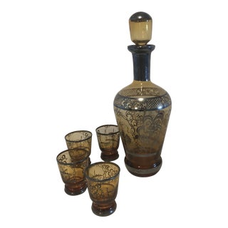 Amber Venetian Glass Cordial Set - 5 Pieces For Sale