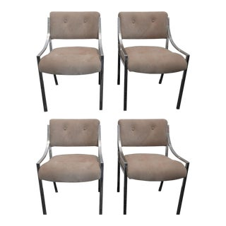 4 Milo Baughman Reupholstered Ultra Suede Dining Chairs For Sale