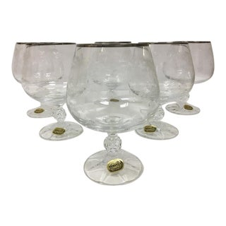 Bohemia Czech Crystal - Brandy Glasses New in Box - Set of 6 For Sale