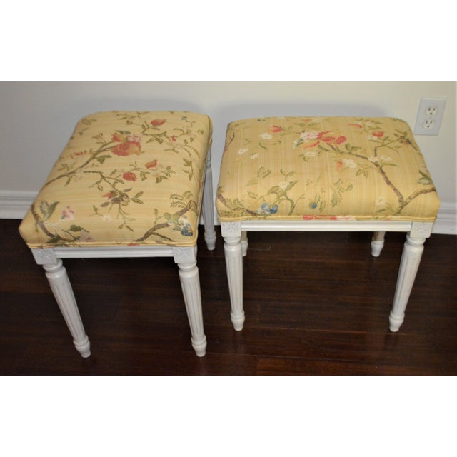 Yellow Gustavian Yellow Fabric Benches - a Pair For Sale - Image 8 of 9