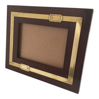 1980's Italian Style Lacquered Wood & Inlaid Brass Picture Frame For Sale