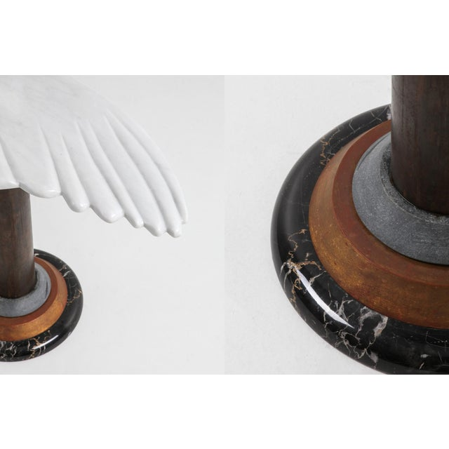 White Marble Angel Wing Side Table For Sale - Image 8 of 9