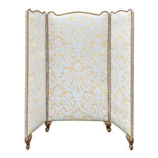 Antique Fortuny Petite Louis XV 3 Panel Floor Screen For Sale