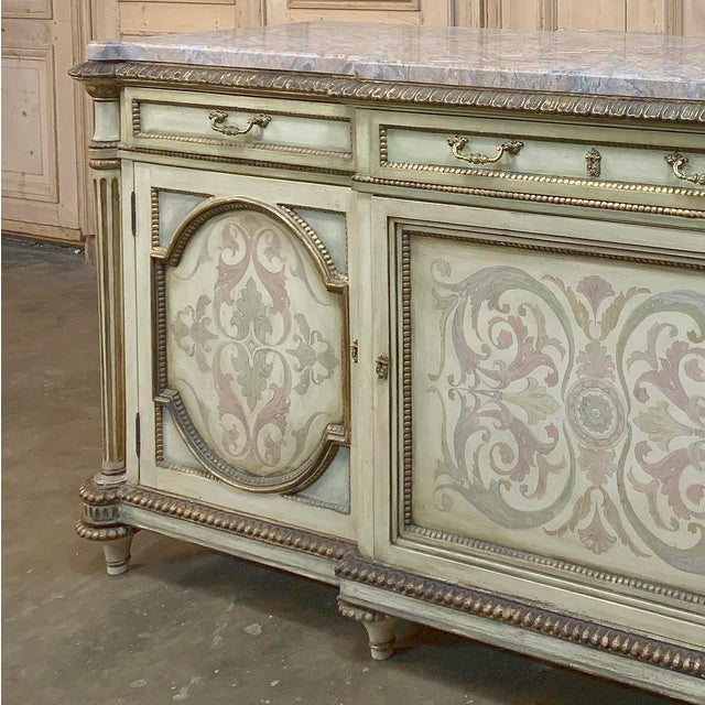 Antique Italian Marble Top Painted Buffet For Sale - Image 11 of 13