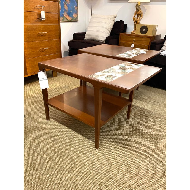 Vintage Pair of Mid Century Modern Wood Side End Tables W/ Ceramic Tile Inlay For Sale - Image 4 of 7