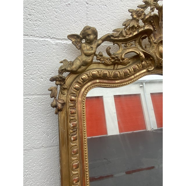 Bronze French Giltwood Carved Flowers and Cherub Louis Style Mirror For Sale - Image 8 of 13