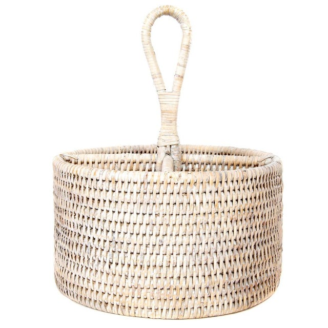 Boho Chic Artifacts Rattan Round 4 section Caddy/Cutlery Holder in White Wash For Sale - Image 3 of 5