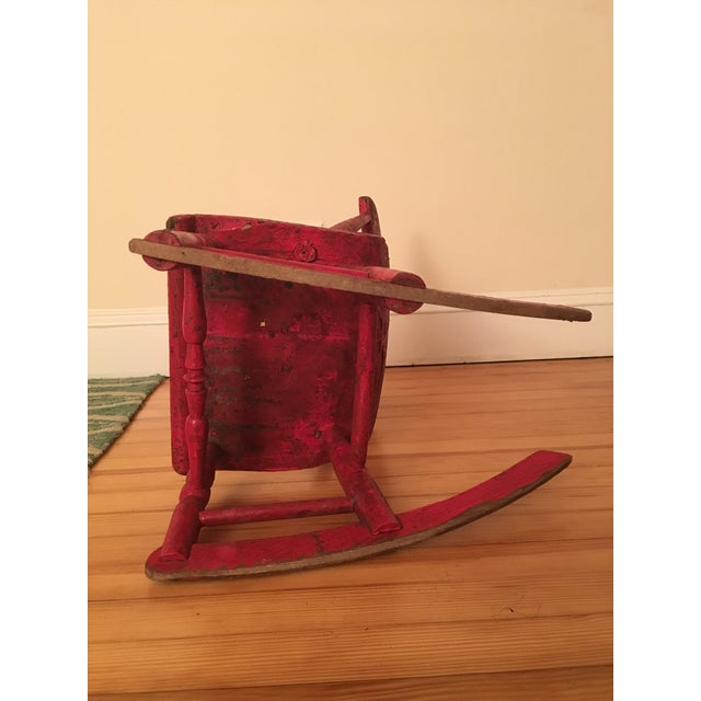 Red Early 19th Century Child's Rustic Red Wooden Rocking Chair For Sale - Image 8 of 10