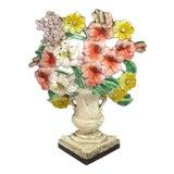 Image of Vintage Cast Iron Flower Garden Doorstop Circa 1920s For Sale