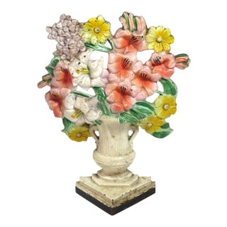 Vintage Cast Iron Flower Garden Doorstop Circa 1920s For Sale
