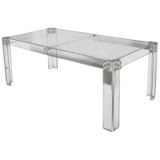 Large Rectangular Bent Lucite Base Glass Top Dining Conference Table For Sale