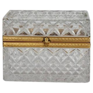 1930's Vintage Cut Glass Hinged Box For Sale