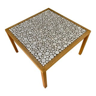 1960s Martz Square Coffee Table with White Ceramic Circular Tiles For Sale