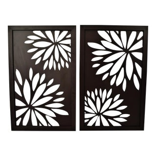 Decorative Pierced Metal Wall Art with Floral Design - A Pair