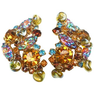 Gorgeous 1950s Multi Dimensional Earrings For Sale