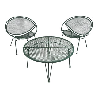 1950's Radar Lounge Chairs and Coffee Table by Salterini - Set of 3 For Sale