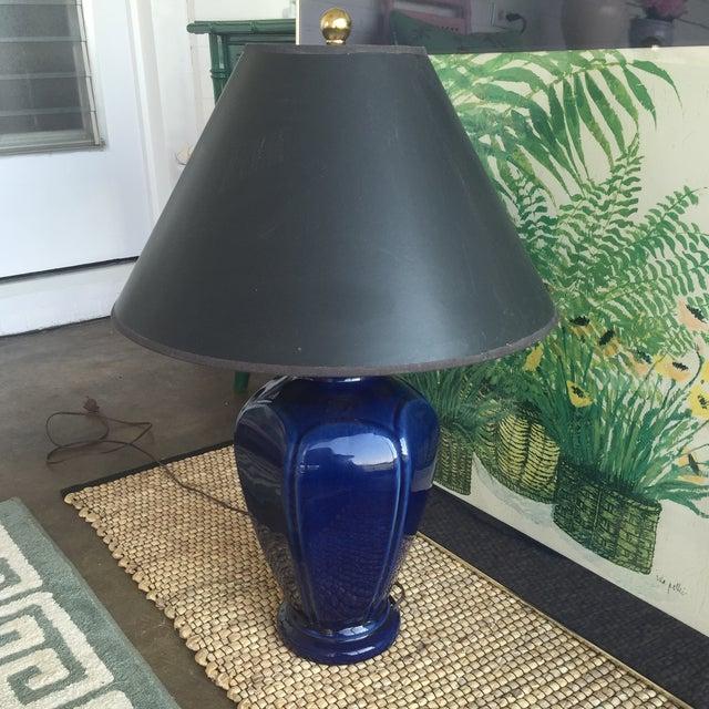 Mid Century Modern Royal Blue Drip Glaze Ceramic Table Lamp - Image 11 of 11