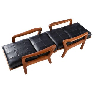 1960s Juul Kristensen Convertible Danish Solid Teak Black Leather Lounge Chairs Preview
