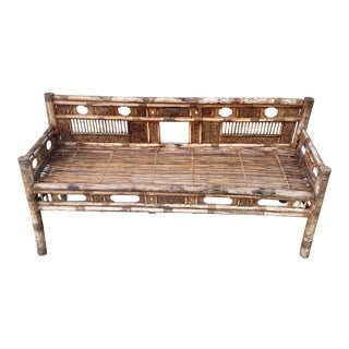Mid 19th Century Chinese Rattan Bamboo Hand Carved Bench Settee For Sale