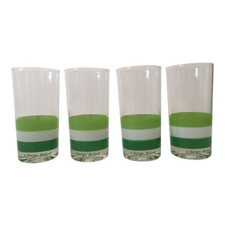 Georges Briard Mid Century Tri Striped Green Tumbler Glasses - Set of 4