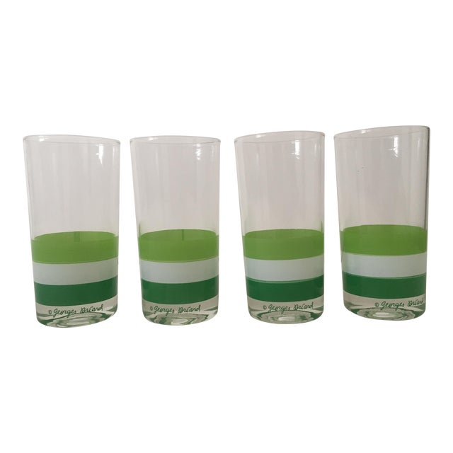 Georges Briard Mid Century Tri Striped Green Tumbler Glasses - Set of 4 For Sale